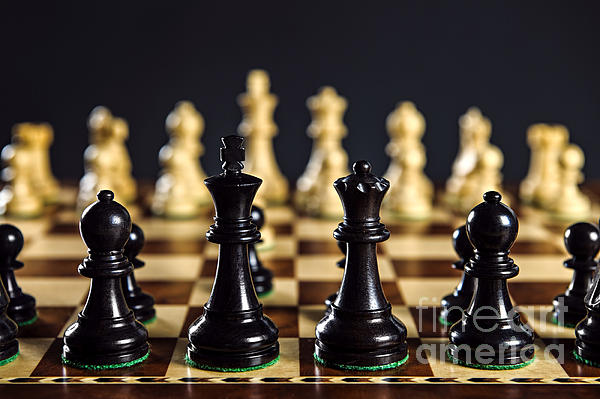 Chess Pieces On Board Print by Elena Elisseeva