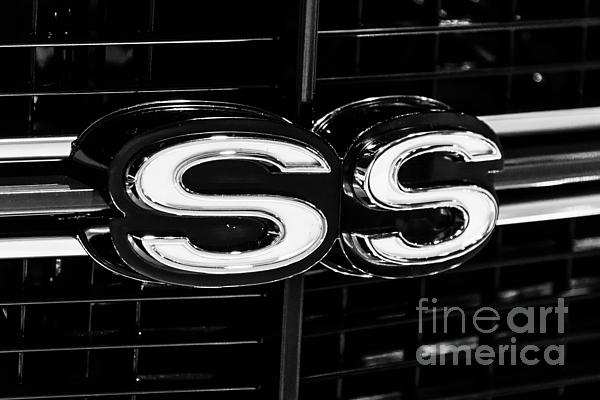 Chevelle Ss Super Sport Emblem Black And White Picture Print by Paul Velgos