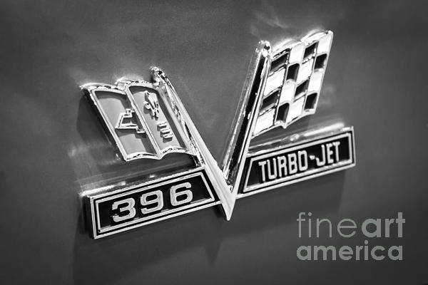 Chevy 396 Turbo-jet Emblem Black And White Picture Print by Paul Velgos