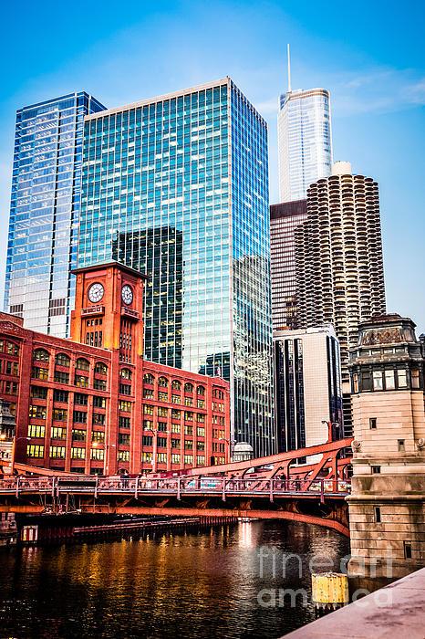 Chicago Downtown At Lasalle Street Bridge Print by Paul Velgos