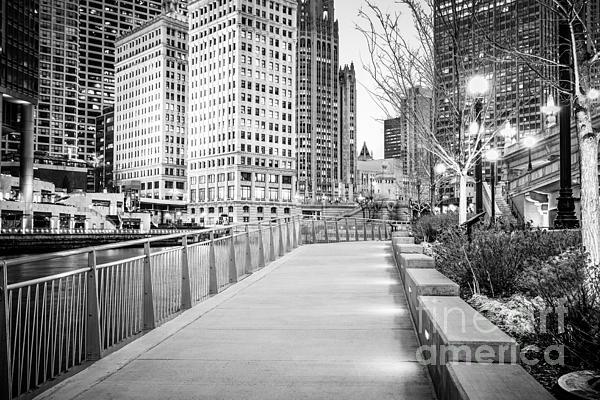 Chicago Downtown City Riverwalk Print by Paul Velgos