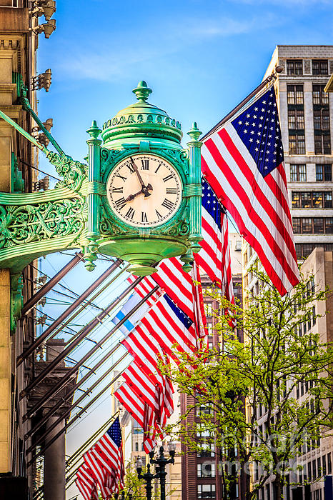 Chicago Great Clock On Macys Building Print by Paul Velgos