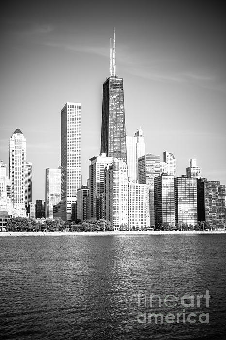 Chicago Hancock Building Black And White Picture Print by Paul Velgos