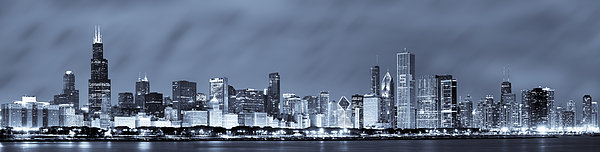 Chicago In Blue Print by Sebastian Musial