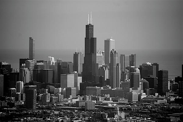 Chicago Looking East 02 Black And White Print by Thomas Woolworth
