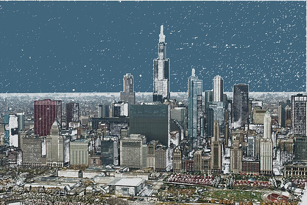 Chicago Looking West In A Snow Storm Digital Art Print by Thomas Woolworth