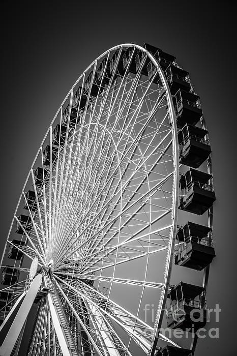 Chicago Navy Pier Ferris Wheel In Black And White Print by Paul Velgos