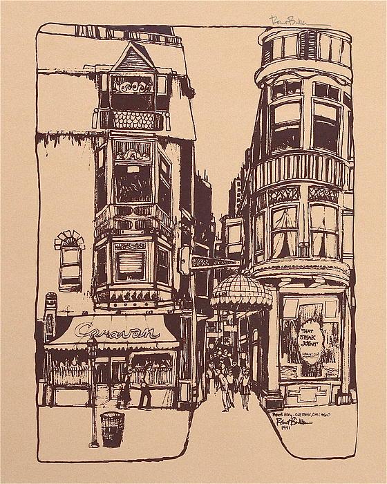 Chicago. Pipers Alley On Wells Street Print by Robert Birkenes