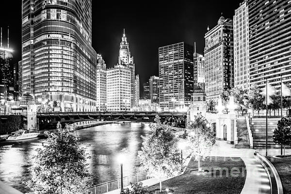 Paul Velgos - Chicago River Buildings at Night in Black and White