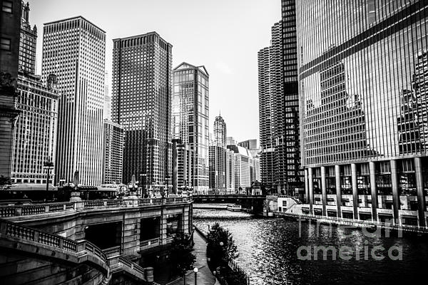 Chicago River Buildings In Black And White Print by Paul Velgos