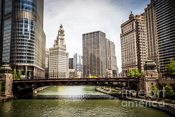 Chicago River Skyline At Wabash Avenue Bridge Print by Paul Velgos