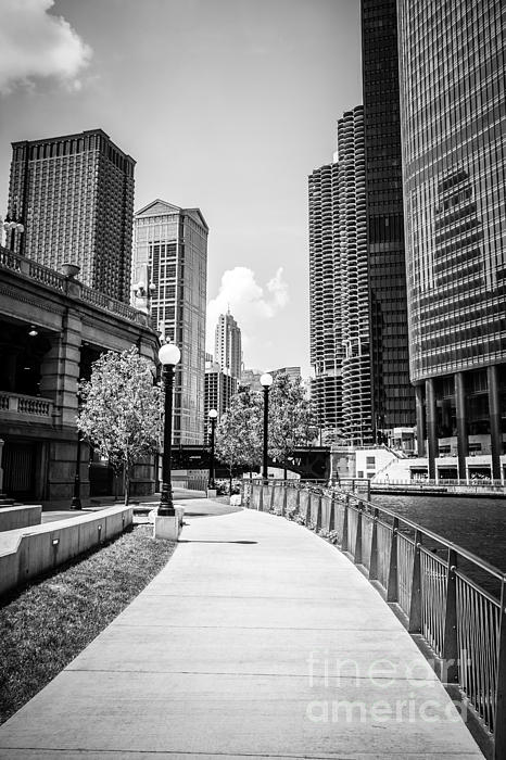 Chicago Riverwalk Black And White Picture Print by Paul Velgos