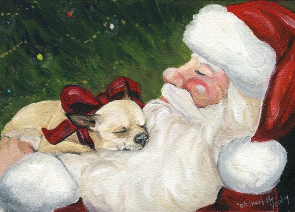 Chihuahua's Cozy Christmas Print by Charlotte Yealey