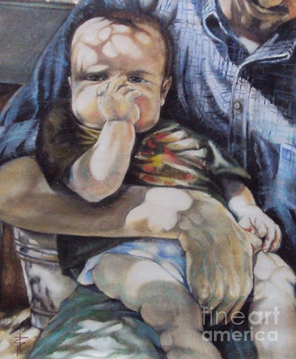 Child Under A Shade Of An Olive Tree Print by Alessandra Andrisani