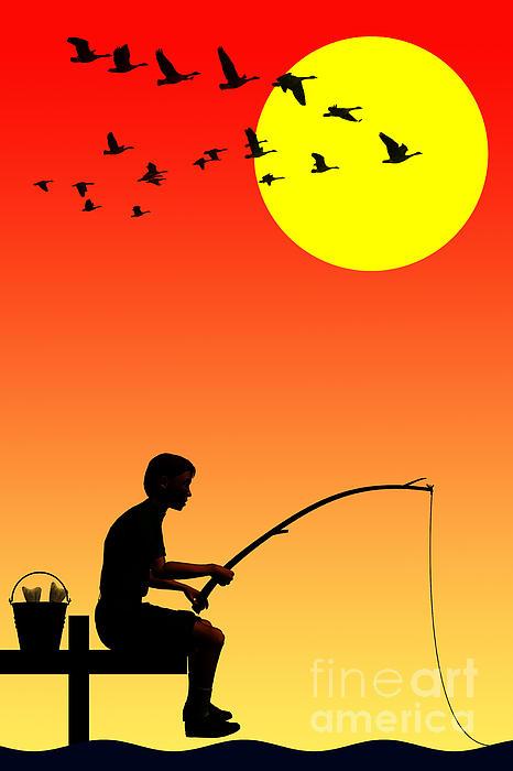 Childhood Dreams 3 Fishing Print by John Edwards