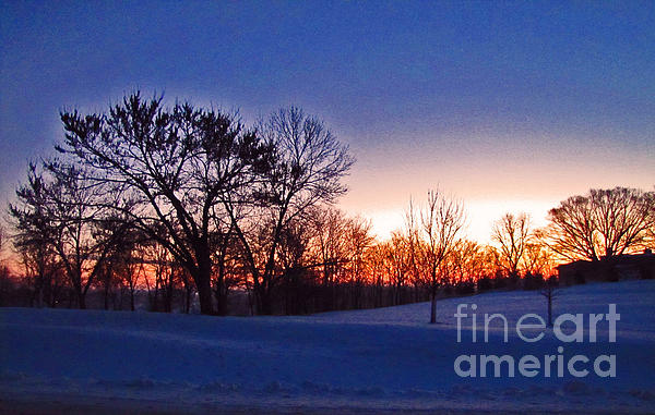 Chilly Beautiful Sunrise Print by Minding My  Visions by Adri and Ray