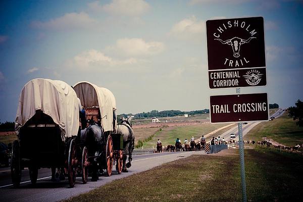 Chisholm Trail Centennial Cattle Drive Print by Toni Hopper