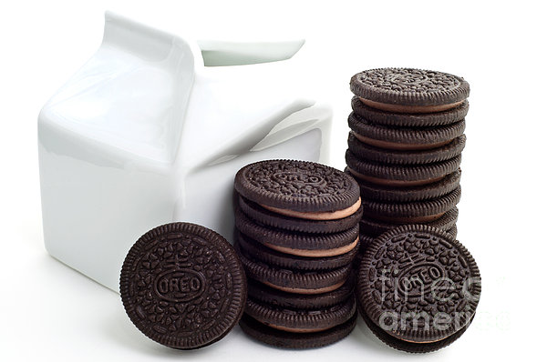 Chocolate Cream Oreos And Milk Print by Andee Design