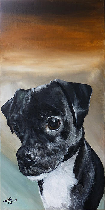 Chowder The Pug Rat Terrier Mix Print by Michelle Iglesias