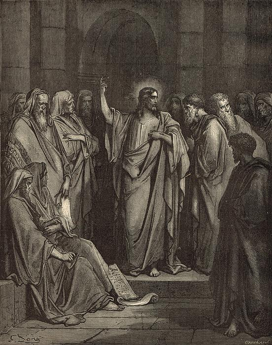 Christ In The Synagogue Print by Antique Engravings