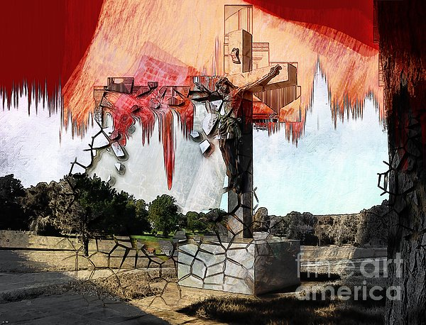 Christ On The Cross Print by Liane Wright