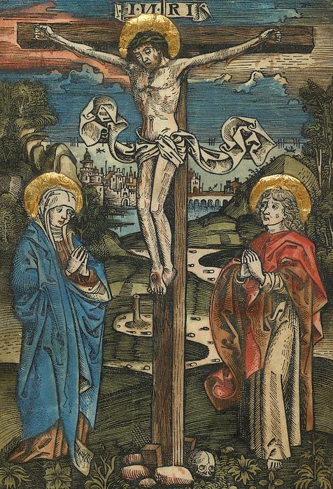 Christ On The Cross With Mary And Saint John Print by German School