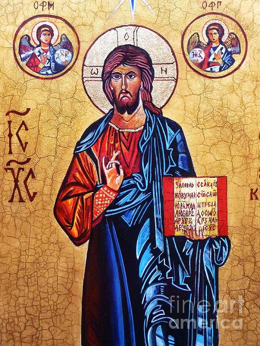 Christ The Pantocrator Print by Ryszard Sleczka