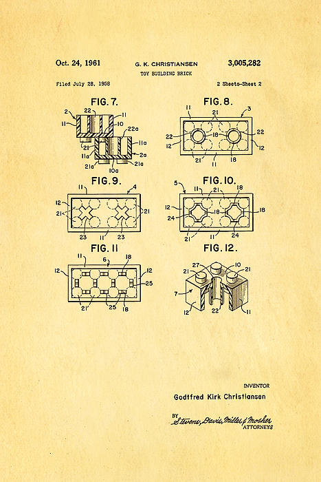 Christiansen Lego Toy Building Block Patent Art 2 1961 Print by Ian Monk