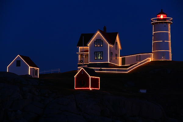 Christmas At Nubble Print by Andrea Galiffi