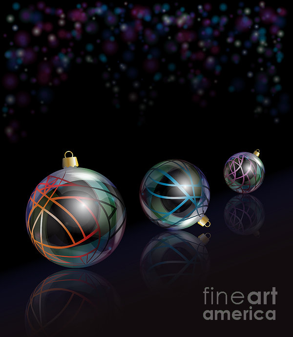 Christmas Baubles Reflected Print by Jane Rix