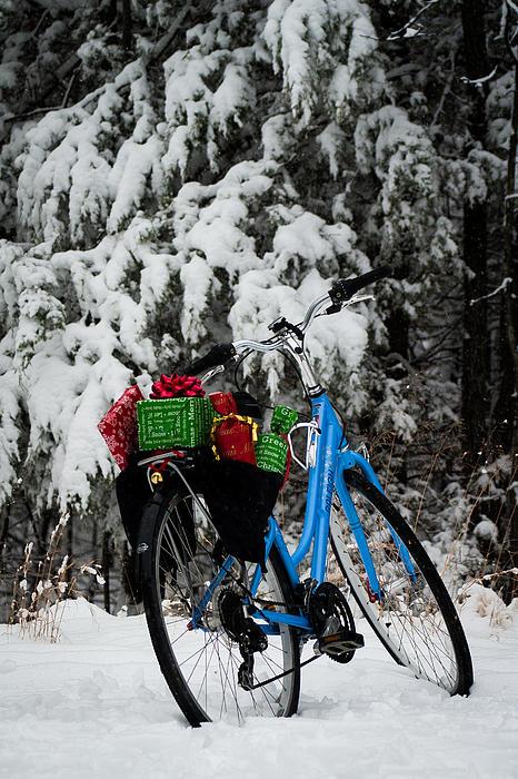 Christmas Bike Print by Wayne Meyer