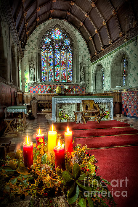 Christmas Candles Print by Adrian Evans
