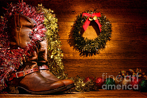 Christmas Cowboy Boots Print by Olivier Le Queinec