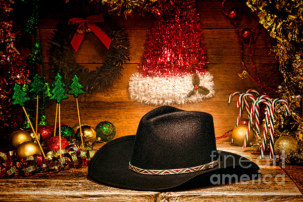 Christmas Cowboy Hat Print by Olivier Le Queinec