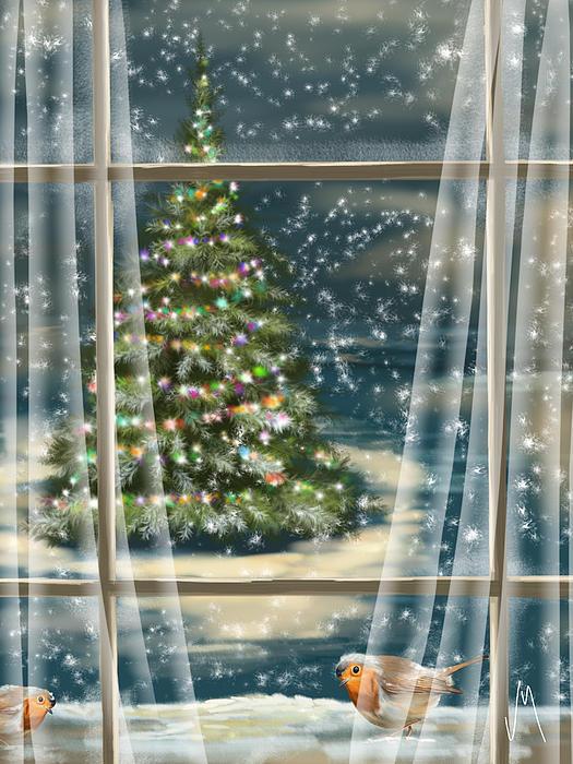 Christmas Night Print by Veronica Minozzi