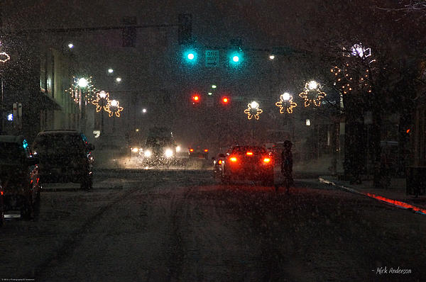 Christmas On The Streets Of Grants Pass Print by Mick Anderson