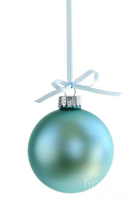 Christmas Ornament On White Print by Elena Elisseeva