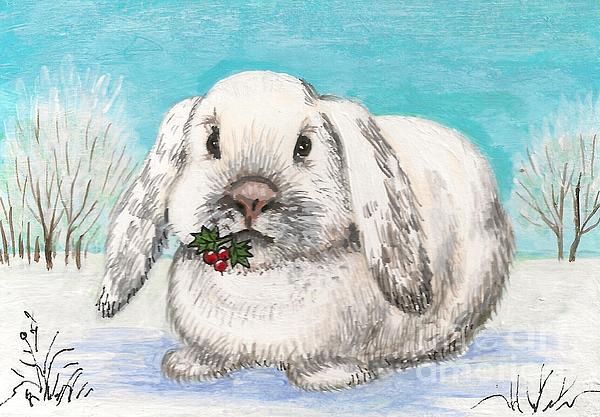 Christmas Rabbit Print by Margaryta Yermolayeva
