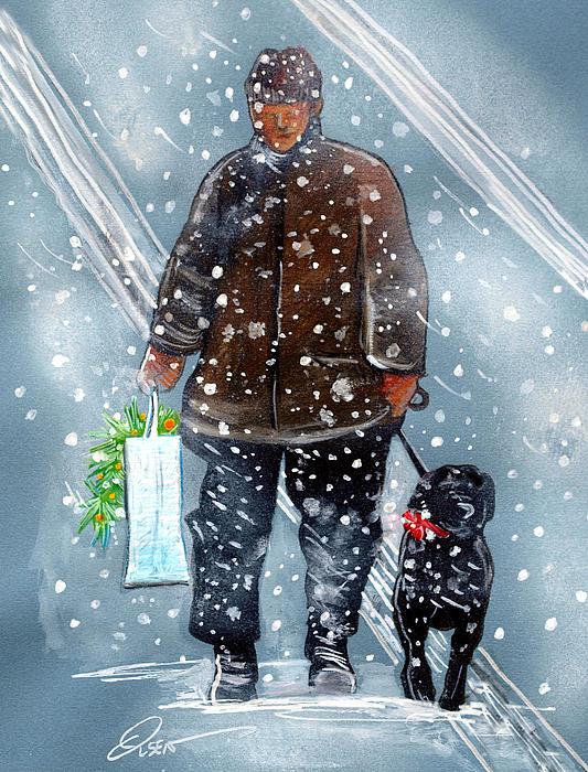 Christmas Shopping Print by Dave Olsen