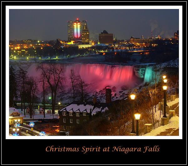 Christmas Spirit At Niagara Falls - Holiday Card Print by Lingfai Leung