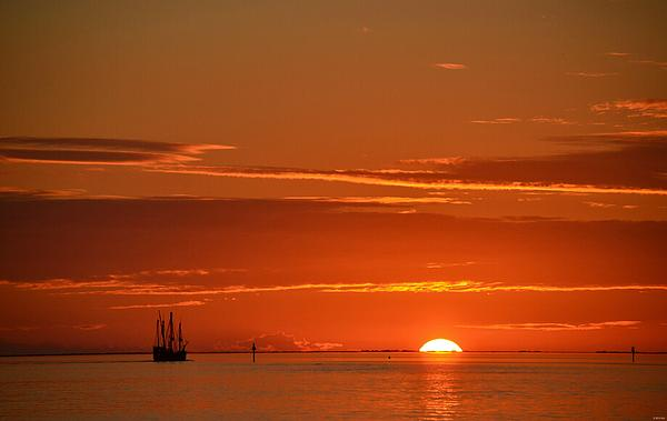 Christopher Columbus Replica Wooden Sailing Ship Nina Sails Off Into The Sunset Print by Jeff at JSJ Photography