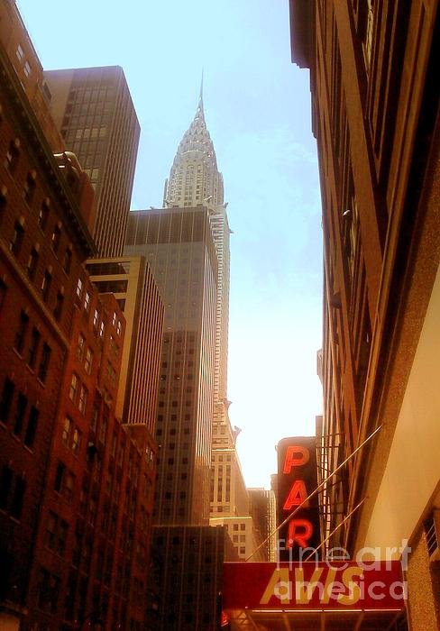 Chrysler Building Rises Above New York City Canyons Print by Miriam Danar