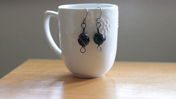 Chrysocolla And Annealed Steel Earrings Print by Tracy Partridge-Johnson