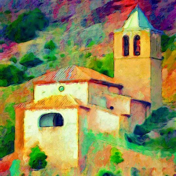 Lyn Voytershark - Church in Riglos Spain - Square