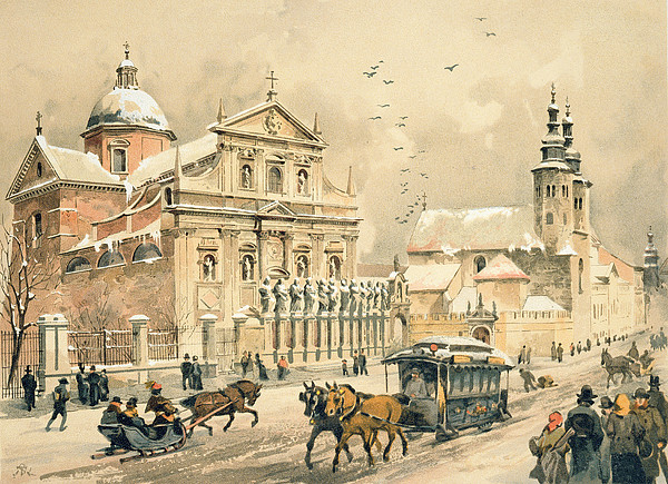 Church Of St Peter And Paul In Krakow Print by Stanislawa Kossaka