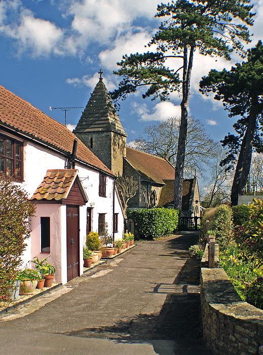 Church Path - Kenn - Somerset Print by Robert Down