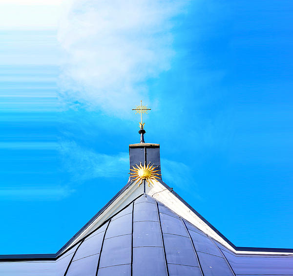 Church Top With Sun And Cross Print by Toppart Sweden