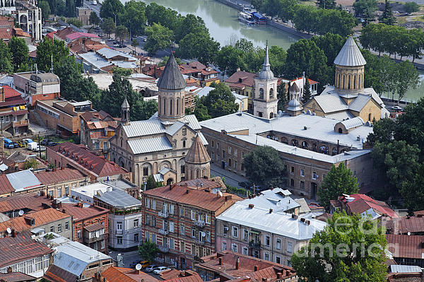 Churches By The Mtkvari River In Tbilisi Print by Robert Preston