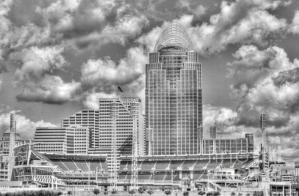 Cincinnati Ballpark Clouds Bw Print by Mel Steinhauer