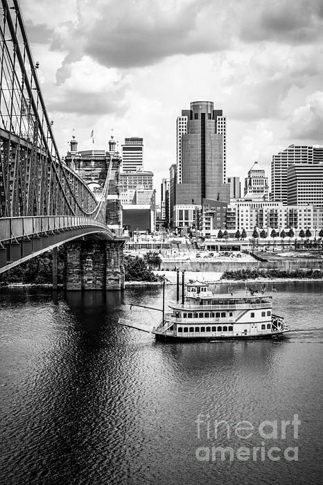 Cincinnati Riverfront Black And White Picture Print by Paul Velgos